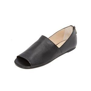 Botkier Maxine Open Toe Black Leather Flats